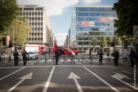 Betoging brandweer Belliardstraat Brussel