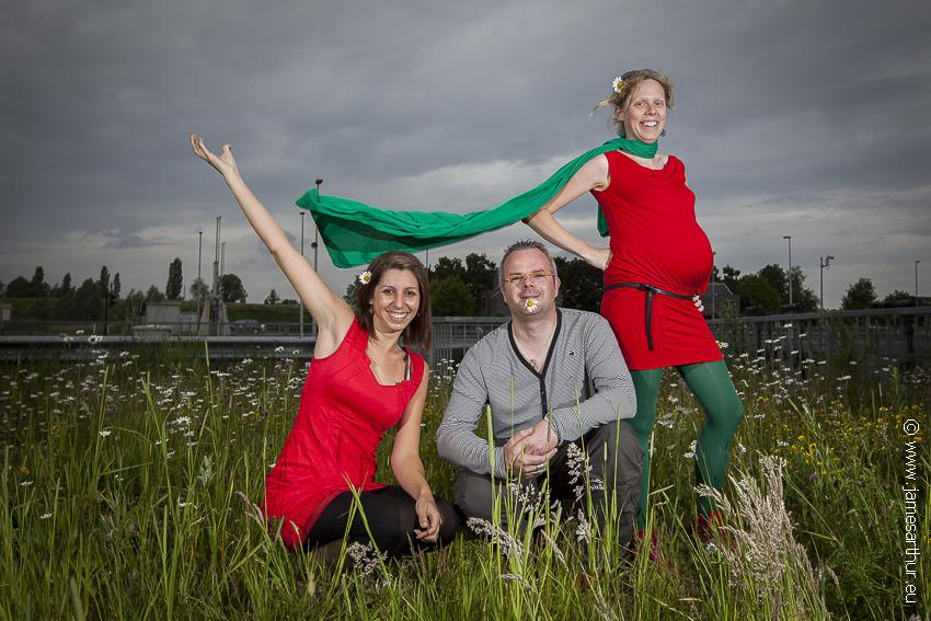 Yasmina, Sven en Grietje, alle vier blij!