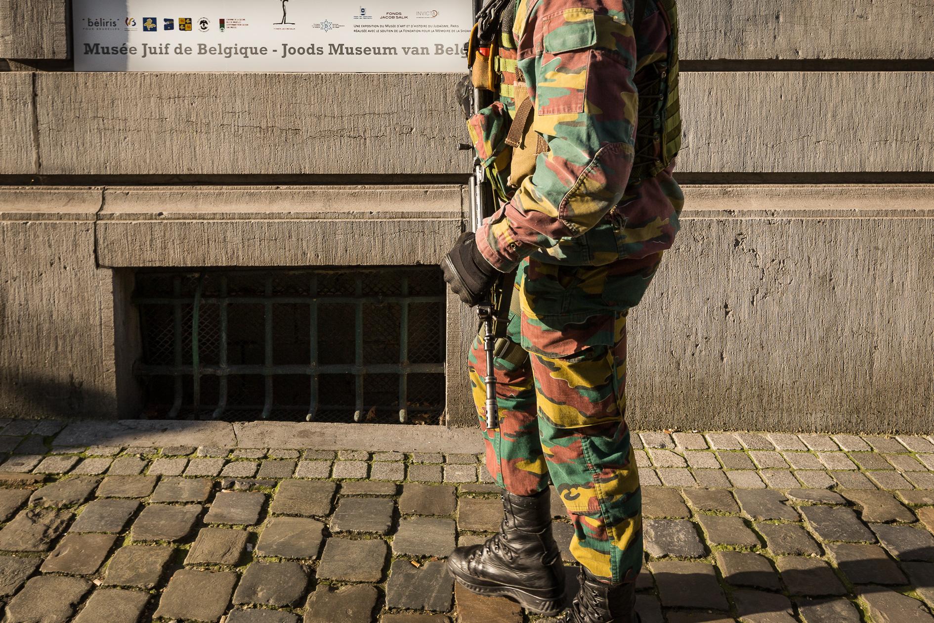 Militaire bewaking Joods Museum Brussel