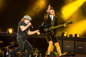 Brian Johnson and Angus Young of AC-DC performing at Rock or Bust tour in Dessel.