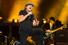 Brian Johnson and Angus Young of ACDC performing at Rock or Bust tour in Dessel.