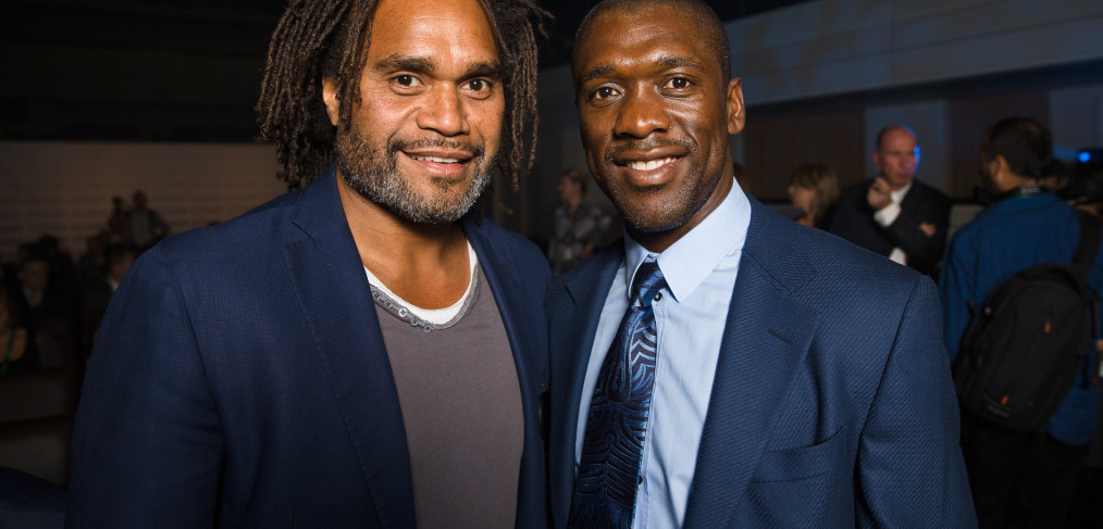 Soccer legends Christian Karembeu and Clarence Seedorf at European Week of Sports in Square Meeting Center, Brussels.
