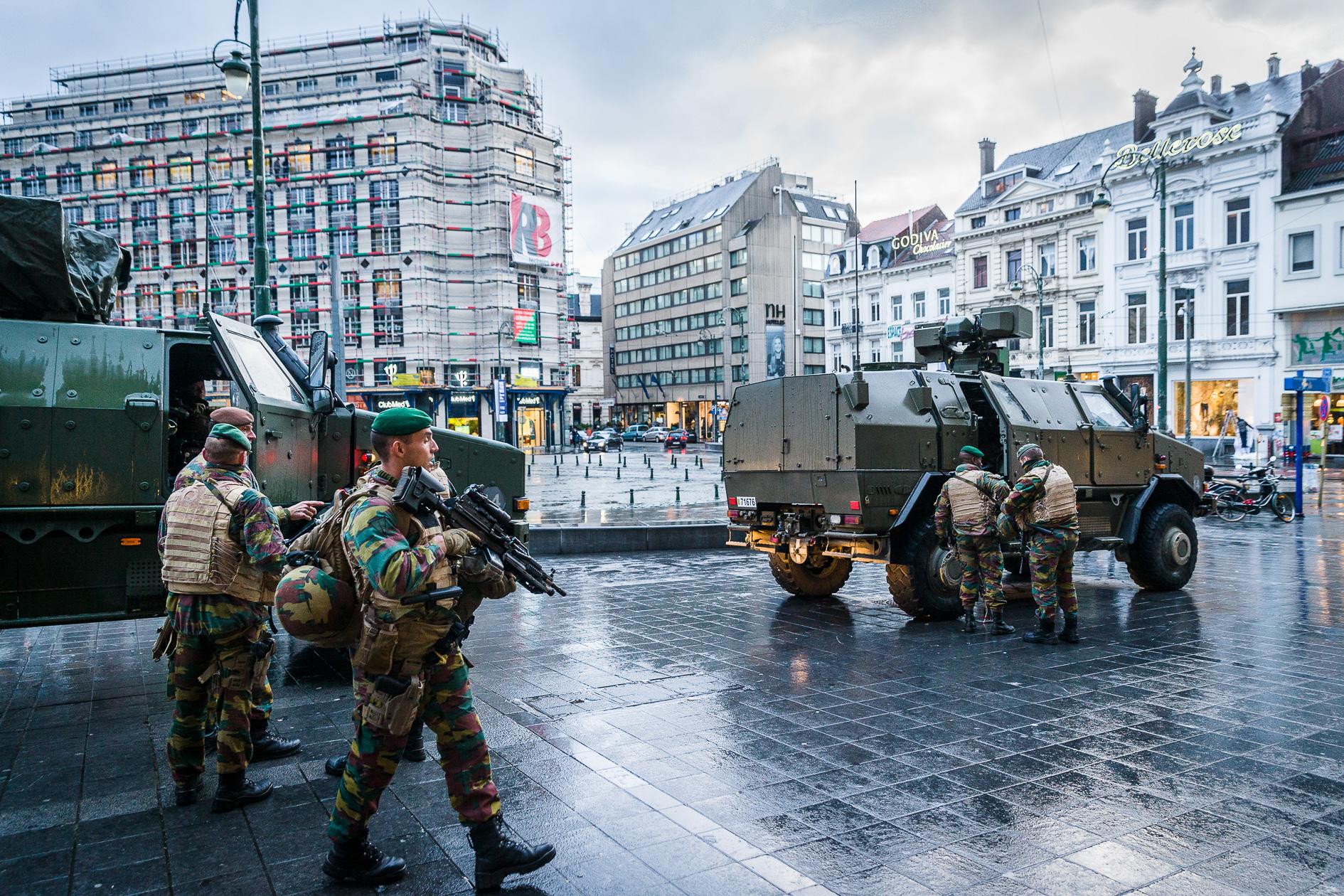 Terrorlevel IV in Brussels Louisalaan.
