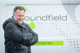 Soundfield corporate shoot, the management poses.
