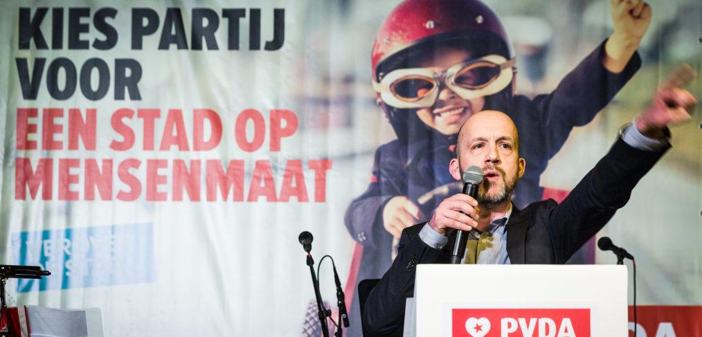 Nieuwjaarsreceptie PvdA, voorzitter PvdA Gent Tom De Meester.